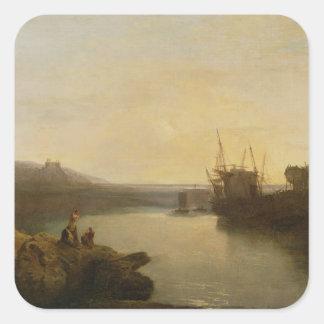 Harlech Castle, from Twgwyn Ferry, Summer's Evenin Square Sticker