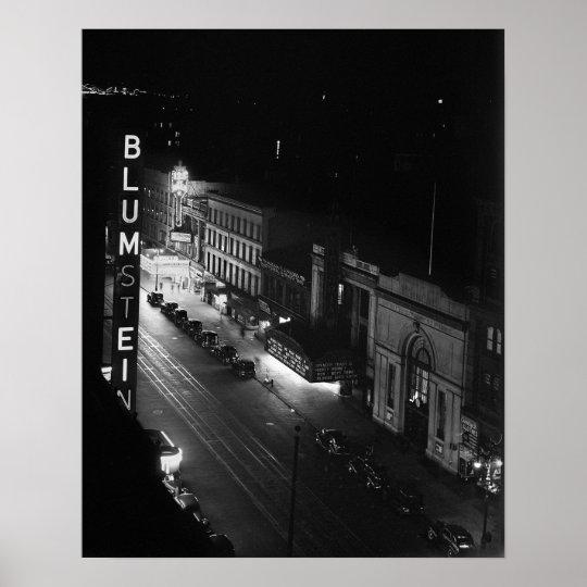 Harlem at Night, 1941. Vintage Photo Poster