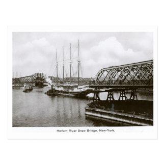 Harlem River Drawbridge, New York City, Vintage Postcard