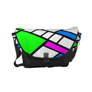 Harlequin abstract green pink blue messenger bags