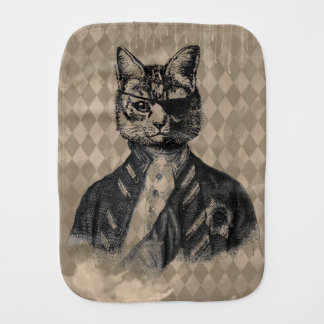 Harlequin Cat Grunge Burp Cloth