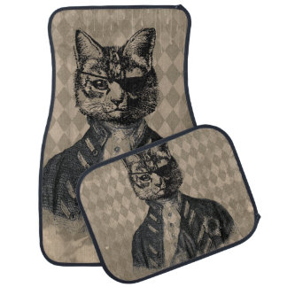 Harlequin Cat Grunge Car Mat