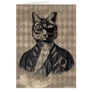 Harlequin Cat Grunge Card