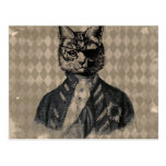 Harlequin Cat Grunge Postcard