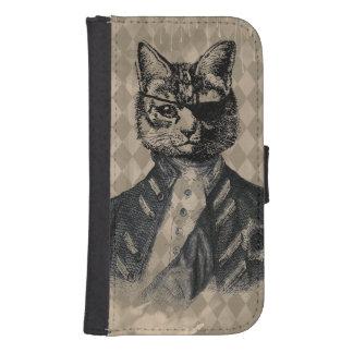 Harlequin Cat Grunge Samsung S4 Wallet Case