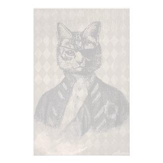 Harlequin Cat Grunge Stationery