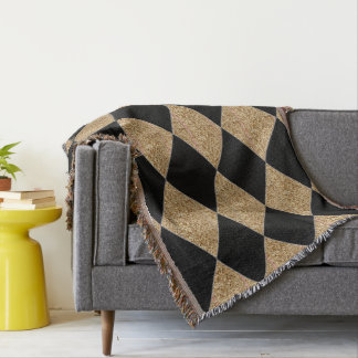 Harlequin-Classic-Black & Gold Throw Blanket