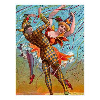 Harlequin Dancing Vintage Illustration Postcard