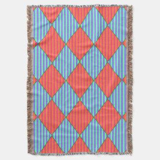 Harlequin-Diamond-Quilt-Design-Blue-Orange- Throw Blanket