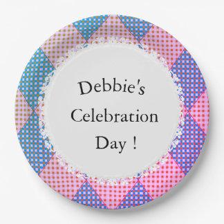 Harlequin_Diamond-Quilt-Pink-Blue_Celebration_CTP 9 Inch Paper Plate