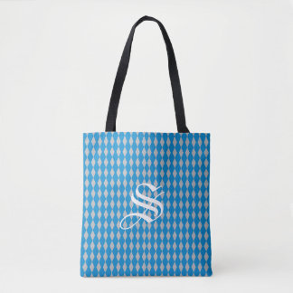 Harlequin Diamonds | Blue Silver Tote Bag