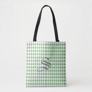 Harlequin Diamonds   Green White Tote Bag