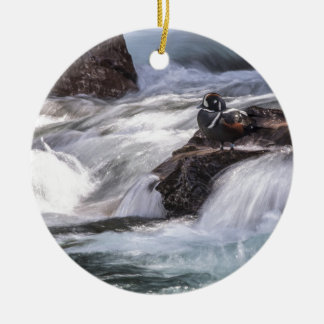 Harlequin duck and waterfall christmas ornament