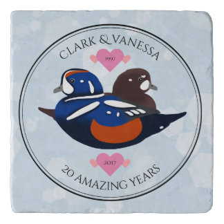 Harlequin Ducks: 20th Wedding Anniversary Trivet