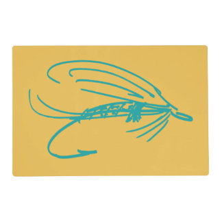 Harlequin Fly Fishing Lures Pattern Laminated Placemat
