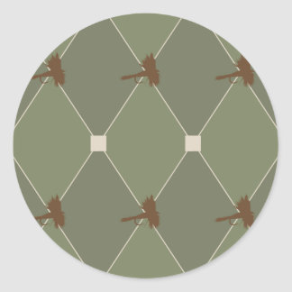 Harlequin Fly Fishing Lures Pattern Round Sticker