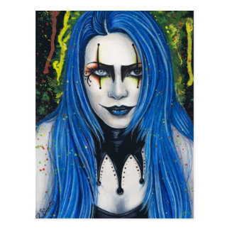 Harlequin Gothic Colorful Postcard