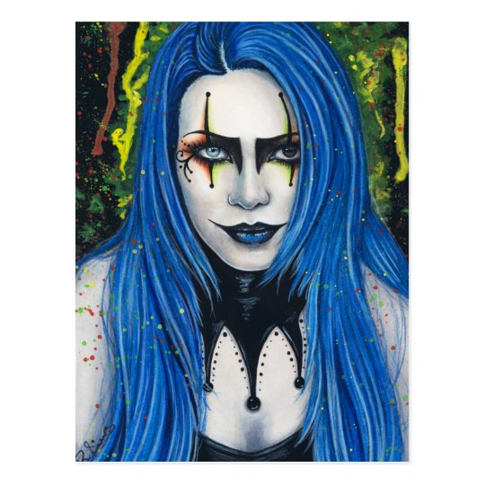 Harlequin Gothic Colourful Postcard