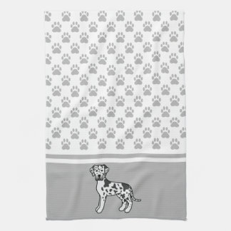 Harlequin Great Dane With Grey Paws Pattern Tea Towel