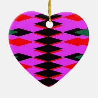 Harlequin Hot Pink Jokers Deck Ceramic Heart Decoration