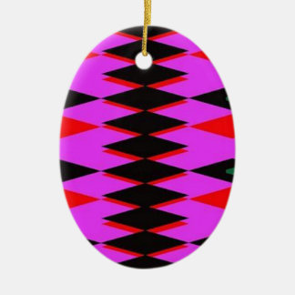 Harlequin Hot Pink Jokers Deck Double-Sided Oval Ceramic Christmas Ornament
