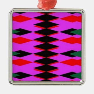 Harlequin Hot Pink Jokers Deck Square Metal Christmas Ornament