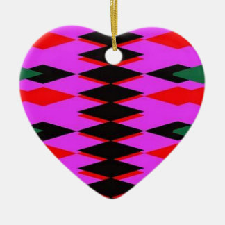 Harlequin Hot Pink Jokers Deck Double-Sided Heart Ceramic Christmas Ornament