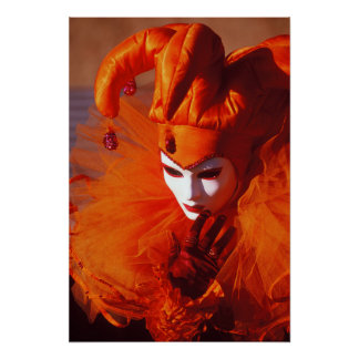 Harlequin in Orange at the Carnival of Venice Poster