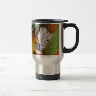 Harlequin macaw travel mug