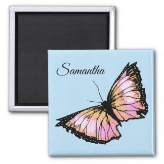 """Harlequin"" - Peach Butterfly Magnet"
