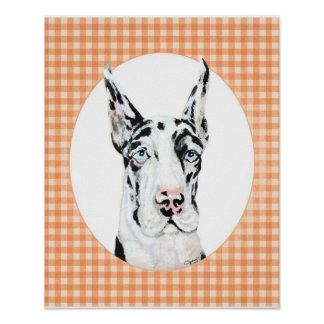 Harlequin Pup Peach Poster