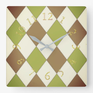 Harlequin_Stylish & Elegant-Lime & Chocolate Square Wall Clock
