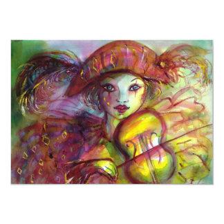 HARLEQUIN / Venetian Masquerade / Mardi Gras 13 Cm X 18 Cm Invitation Card