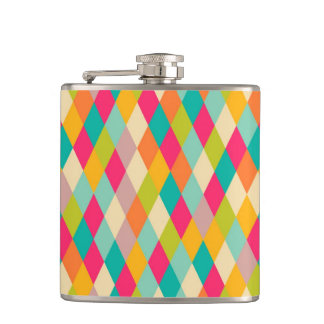 Harlequin vintage pattern hip flask