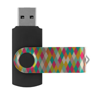 Harlequin vintage pattern swivel USB 2.0 flash drive