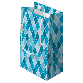Harlequin winter pattern small gift bag