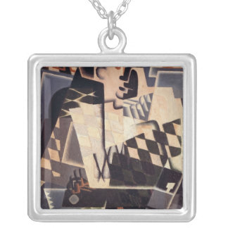 Harlequin with a Guitar, 1917 Silver Plated Necklace