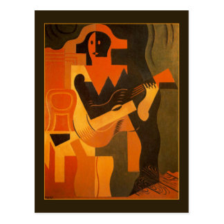 Harlequin with Guitar by Juan Gris Postcard