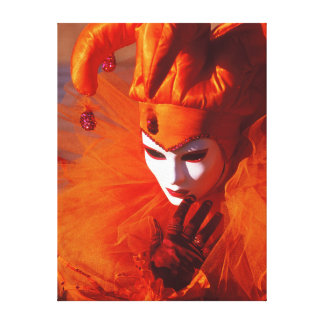Harlequin With Orange Costume and White Mask Stretched Canvas Prints