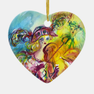 HARLEQUINA PLAYING VIOLIN WITH CAT CERAMIC HEART DECORATION
