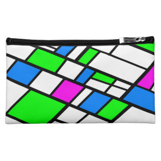 Harlequine abstract green pink blue makeup bags