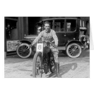 Harley-Davidson Motorcycle Racer, 1922 Greeting Card