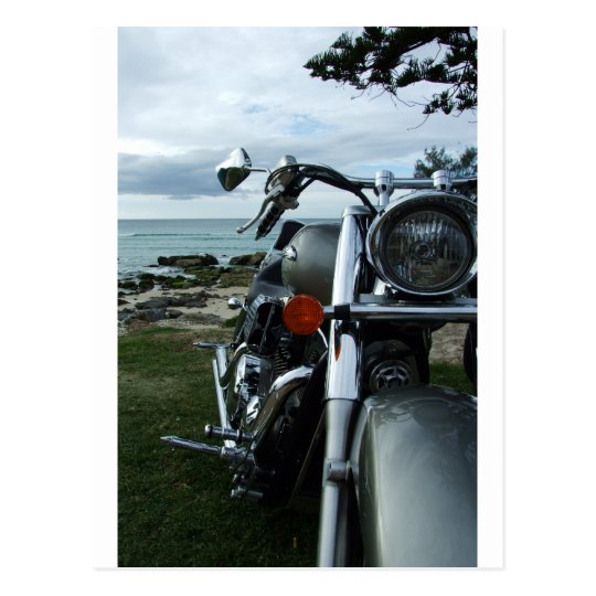 harley on beach postcard