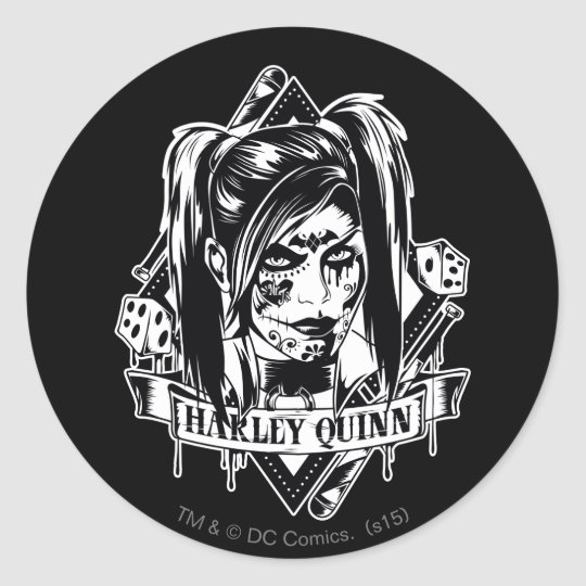 Harley Quinn Badge Classic Round Sticker