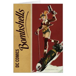 Harley Quinn Bombshells Pinup Greeting Card