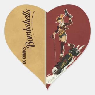 Harley Quinn Bombshells Pinup Heart Sticker