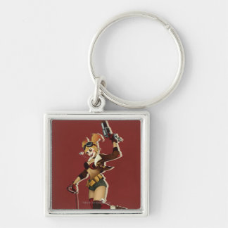 Harley Quinn Bombshells Pinup Silver-Colored Square Key Ring