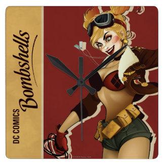 Harley Quinn Bombshells Pinup Square Wall Clock