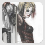 Harley Quinn Illustration Square Stickers