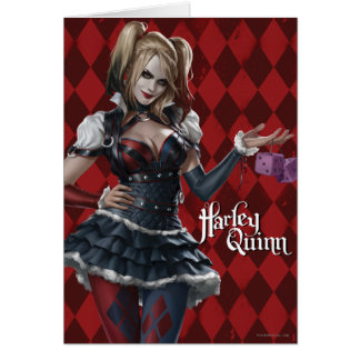 Harley Quinn With Fuzzy Dice Card